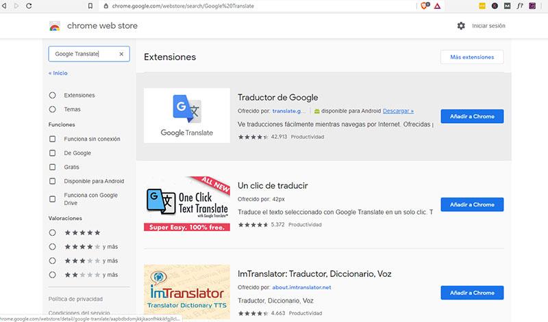 Añadir traductor al navegador Brave