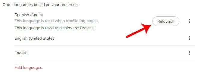 Relanzar el navegador Brave